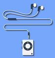 Modern mp3 player with earphones in flat style vector image