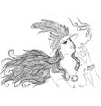 Retro girl in hat smoking cigarette outline vector image