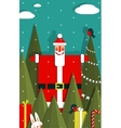 Santa with Gifts and Presents in Woods vector image