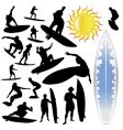 wave surfing and sun vector image