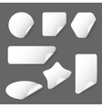 White paper stickers on grey background vector image