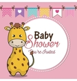 invitation baby shower card with giraffe desing vector image