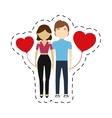 couple feelings red hearts balloon vector image