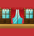 room with wooden furniture and red curtain vector image vector image