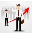 business man raising his right hand up vector image
