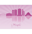 Memphis skyline in purple radiant orchid vector image vector image