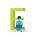 alphabet mobile people flat design concept vector image