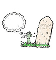 cartoon zombie rising from grave with thought vector image