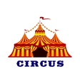 Circus tent with red and yellow stripes vector image