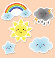 cute weather and sky elements kawaii sun rainbow vector image