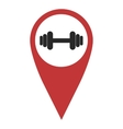 Red geo pin with dumbbell vector image