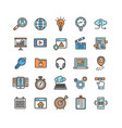 Search engine seo color thin line icon set vector image