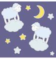 Cute sheepmoon and stars vector image