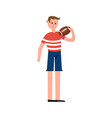 rugby player holding a ball cartoon character vector image