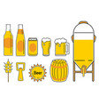 Beer icon line cartoon 2 vector image