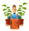 gardener with flowerpot vector image vector image
