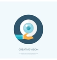 Flat eye and hand Creative vector image
