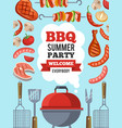 design template of invitation for bbq party vector image