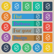 Dollar icon sign Set of twenty colored flat round vector image