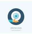 Flat eye and hand Creative vector image