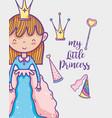 little princess cute hand drawing cartoon vector image