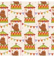 Seamless circus background with bears vector image