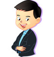 young boy in business style cartoon vector image