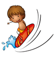 Boy and surfing vector image vector image