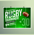 rugby game event flyer poster design template vector image