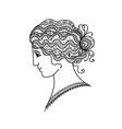 Female portrait black silhouette for your design vector image