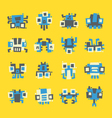 set of simple minimal flat robot characters vector image