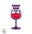 Winery theme Stylized wineglass with grapes vector image