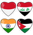 Set of images of hearts with the flags of India vector image vector image