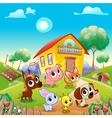 Funny farm animals in the garden vector image