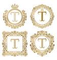 Golden letter t vintage monograms set heraldic vector image