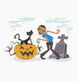 Happy Halloween with zombie and black cat vector image