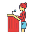 lawyer woman speech in court attorney concept vector image