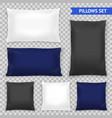 realistic pillows top transparent set vector image