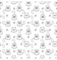 seamless pattern with cute cats and footprints vector image