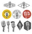 Set of vintage retro microphone emblems logos vector image