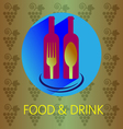 Food and drink with red wine card vector image