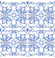 Blue seamless pattern with birds in the ethnic vector image