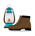 camping boots shoes with lamp isolated icon design vector image
