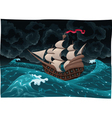 Galleon in the sea with storm vector image