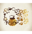 Golden paint cup splashes and harts vector image