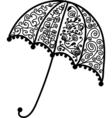Ornate umbrella design black silhouette vector image