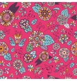 Seamless Floral Pattern On Pink Background vector image