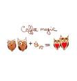 set of cute owls coffee concept cartoon vector image