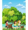 Three kids running outdoor vector image