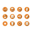 tropical resort round flat color icons set vector image